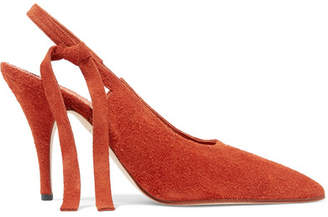 Victoria Beckham Dorothy Textured-suede Slingback Pumps - Brick