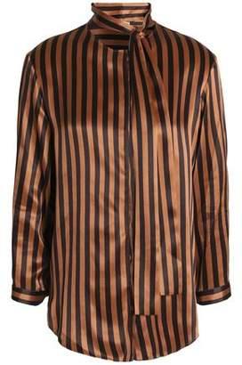 Nina Ricci Pussy-Bow Striped Silk-Satin Shirt