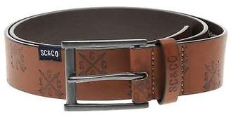 Soul Cal SoulCal Mens All Over Pattern Embossed Belt Buckle Fastening