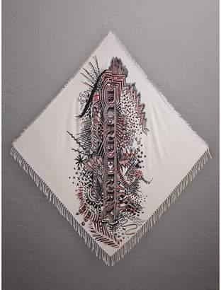 Burberry Doodle Print Silk Cotton Scarf