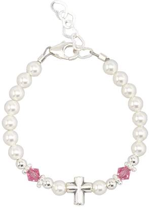 Silver Cross Crystal Dream Baptism Sterling Bead with Swarovski Simulated Pearls Pink Crystals Baby Bracelet (BSCHP_S)