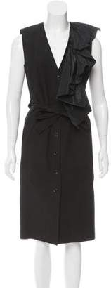 Tome Ruffle-Accented Midi Dress w/ Tags