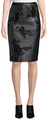 Iconic American Designer Flocked Faux-Leather Pencil Skirt