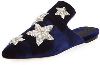 Stelle Sanayi313 Metallic Star Velvet Slipper, Blue Marine