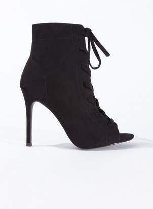 e1f8fa5051f at Miss Selfridge · Miss Selfridge Hazel lace up stiletto heel sandals