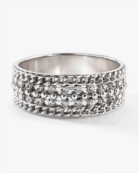 Silvertone Crystal Chain Bangle