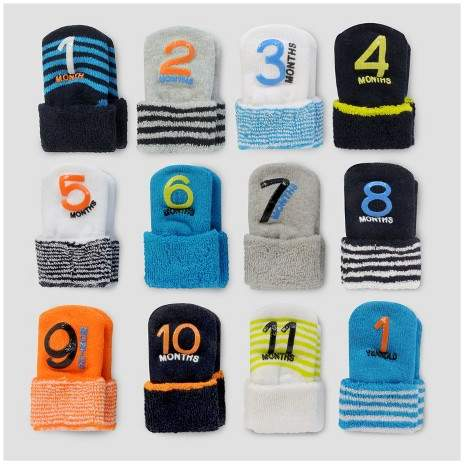Just One You made by carter Baby Boys' 12pk Monthly Milestone Terry Cuff Sock - Just One You Made by Carter's® Blue/Gray/White 0-12M