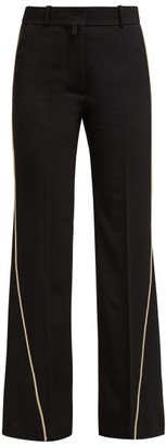 Petar Petrov Contrast Piping Virgin Wool Trousers - Womens - Black Multi