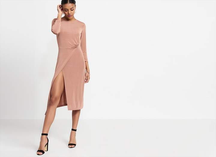 Dynamite Wrap Front Knitted Dress