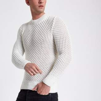 River Island White slim fit long sleeve knitted sweater