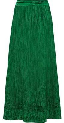 Sandro Meg Pointelle-Trimmed Stretch-Knit Midi Skirt