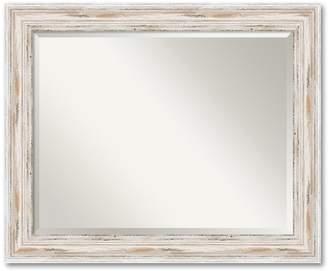 Amanti Art Alexandria Large Whitewash Distressed Wood Wall Mirror