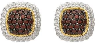 Sterling & 14K Garnet Button Post Earrings