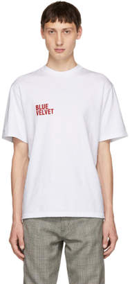 Christian Dada White Blue Velvet T-Shirt