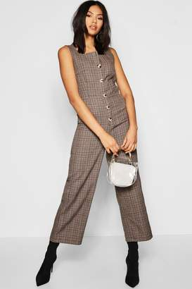 d882577e1eff boohoo Tall Square Neck Mock Horn Button Jumpsuit