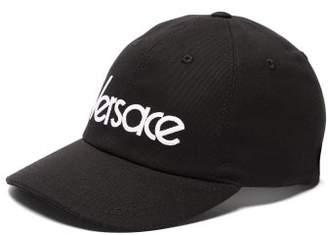 Versace Logo Embroidered Baseball Cap - Womens - Black