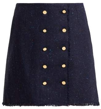Thom Browne Tweed Wool And Mohair Blend Skirt - Womens - Navy
