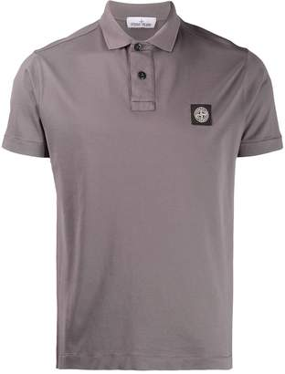 Stone Island embroidered logo polo T-shirt