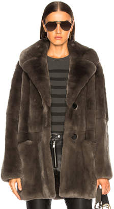 Yves Salomon Rex Rabbit Fur Coat in Brume | FWRD