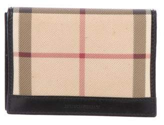 Burberry Leather-Trimmed Nova Check Card Holder