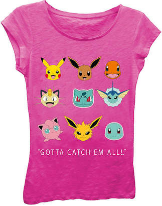 Asstd National Brand Pokemon Girls' Gotta Catch 'Em All! Faces Short Sleeve Graphic T-Shirt with Crystalline on Type