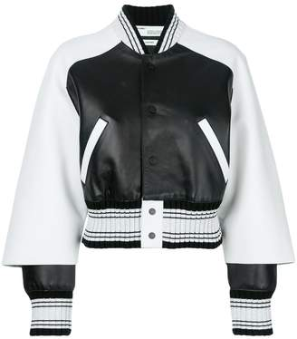Off-White contrast sleeve varsity jacket