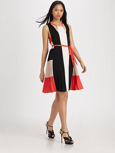 BCBGMAXAZRIA Brit Draped Colorblock Dress