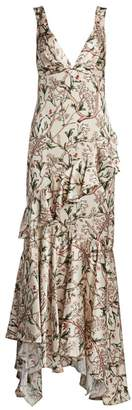 Johanna Ortiz Divine Intervention Floral Ruffle Dress