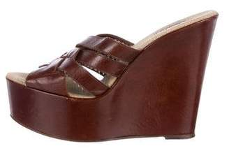 Barneys New York Barney's New York Woven Leather Slide Wedges