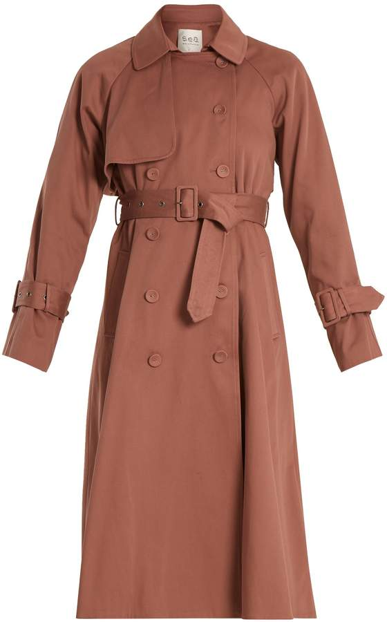 Sea Belted cotton double-breasted trench coat