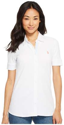 U.S. Polo Assn. Solid Button Front Short Sleeve Shirt Women's Clothing