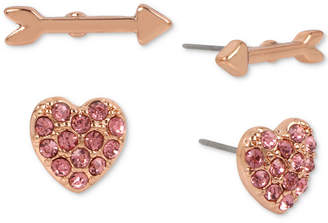 Betsey Johnson Rose Gold-Tone 2-Pc. Set Pink Stone Heart & Arrow Stud Earrings