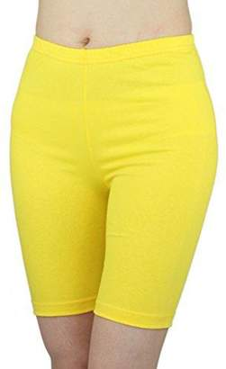 ELEGANCE1234 Women's Stretchy Cotton Lycra Above Knee Short Active Leggings