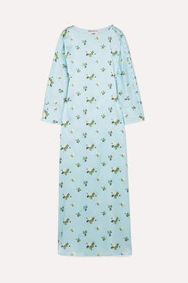 Dakota BERNADETTE Floral-print Stretch-silk Satin Maxi Dress - Blue
