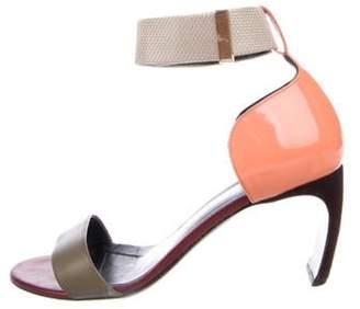 Nicholas Kirkwood Leather Peep-Toe Sandals Green Leather Peep-Toe Sandals