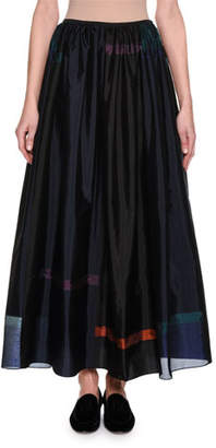 Giorgio Armani Taffeta Fil Coupé Maxi Skirt, Blue