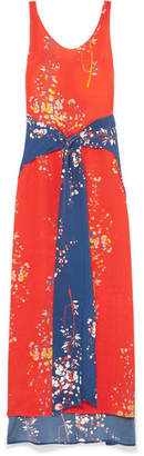 Jaline - Elizabeth Paneled Floral-print Silk Crepe De Chine Maxi Dress - Coral