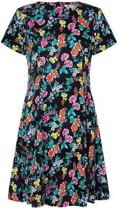Yumi Curves Ditsy Floral Print Skater Dress