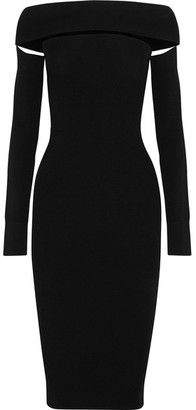 McQ Alexander McQueen - Off-the-shoulder Cutout Stretch-knit Dress - Black $485 thestylecure.com