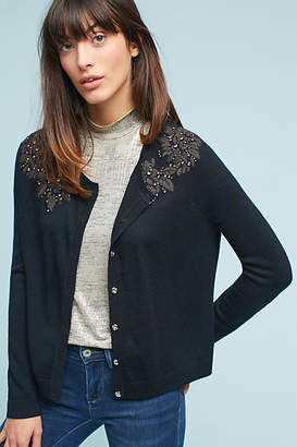Knitted & Knotted Floral Applique Cardigan