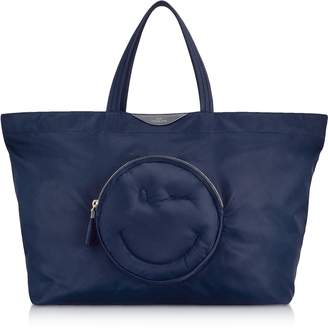 Anya Hindmarch Navy Blue Nylon Large Chubby Smiley E/W Tote Bag