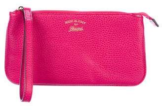 Gucci Pebbled Leather Swing Wristlet