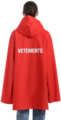 Vetements Logo Printed Rubberized Raincoat