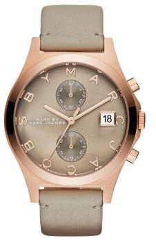 Marc by Marc Jacobs Slim Chrono Rose Goldtone Stainless Steel & Leather Strap Chronograph Watch $250 thestylecure.com