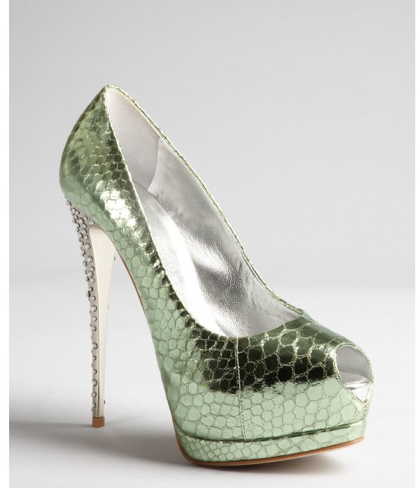 Giuseppe Zanotti emerald and silver rhinestone heel snake embossed leather platform pumps