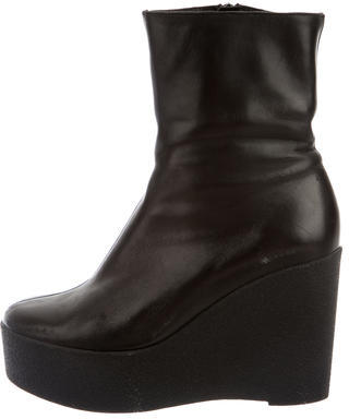 Robert Clergerie Leather Wedge Ankle Boots $175 thestylecure.com