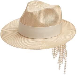 Federica Moretti Gem faux-pearl embellished straw hat