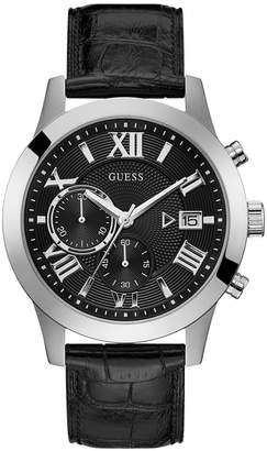 GUESS Men's Chronograph Black Leather Strap Watch 45mm