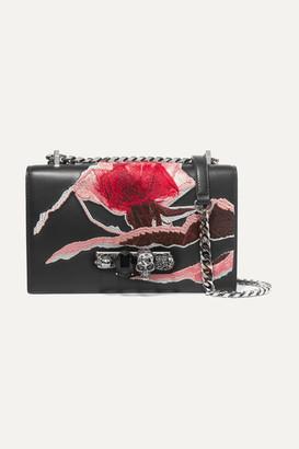 Alexander McQueen Jewelled Satchel Embellished Embroidered Suede Shoulder Bag - Black