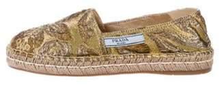 Prada Brocade Espadrille Flats Gold Brocade Espadrille Flats
